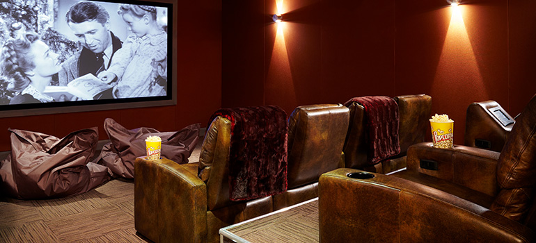 A private theater sits available for people looking for a place to stay in Aspen.