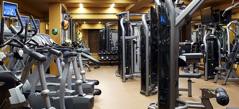 Rows of high-tech exercise machines are in the fitness center at Dancing Bear.