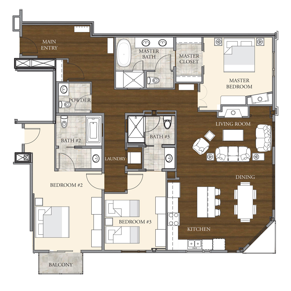 Dancing Bear Aspen, Mountainside Floorplan