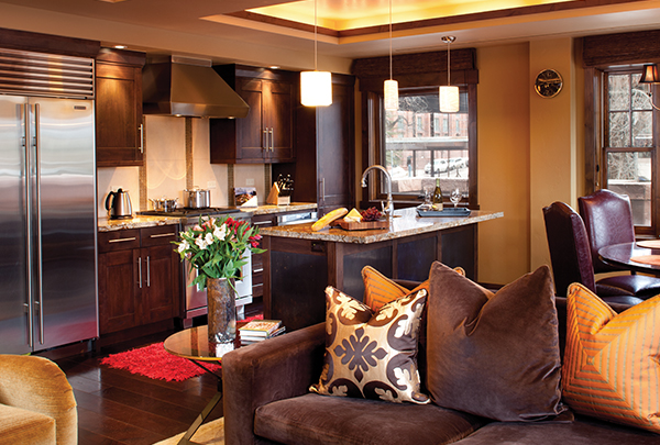 A high end kitchen at The Dancing Bear Aspen appears ready for real estate owners.
